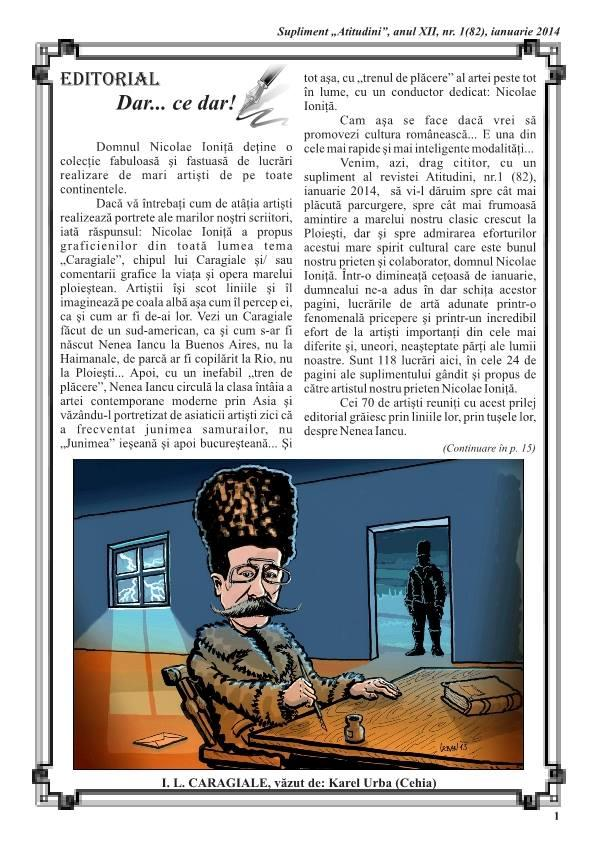 """Ion Luca Caragiale,Rumunský básník a spisovatel a můj ,,kari-portrét"""",který pod článkem použili."""